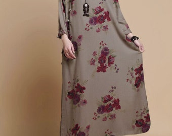 Spring print Loose Fitting Long Maxi Dress womens Robe Long gown