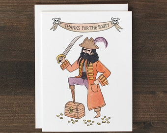 Funny Thank You Greeting Card Pirate