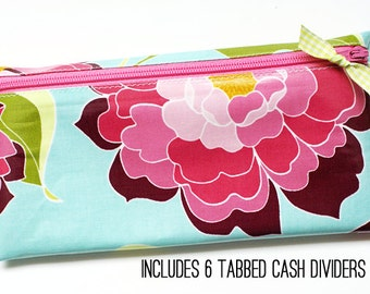 Cash envelope wallet with 6 tabbed dividers | aqua, green, orchid floral laminated cotton