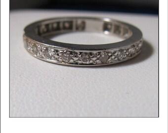 Vintage 14k White Gold Diamond Eternity Diamond Wedding Band Size 8.75