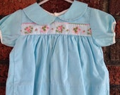 Sky blue baby girl embroidered floral PETER PAN Collar dress 9mo