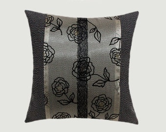 """Decorative pillow case, Upholstery fabric, Beige, Brown, Black decoration Throw pillow case, fits 18"""" x18"""" insert, Cushion case, Toss case"""