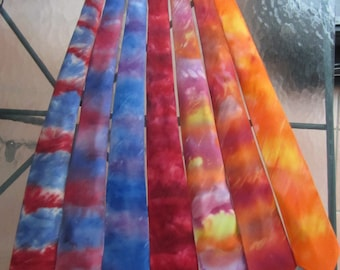 Tie Dye Ties in 100% Charmeuse Silk Watercolors including blues, purples, reds, red white and blue, turquoise, wine, pumpkin and fall colors