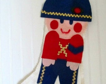 Vintage 1960s Toy Solider Handmade Felt  Christmas Stocking, Colorful Midcentury, Little Boy Kitsch Home Decor, Kids Xmas Stocking,