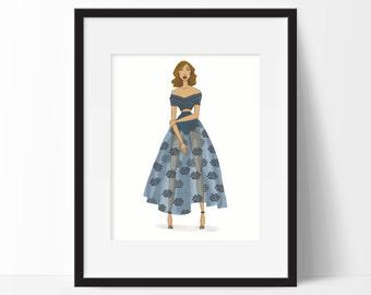 Fashion illustration print- Vintage Edge