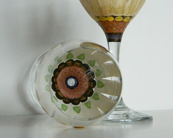 Secret Flower Hand Painted Wine Glasses Golden Daisy Design set of 2