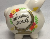 Personalized Piggy Bank Adventure Awaits travel fund
