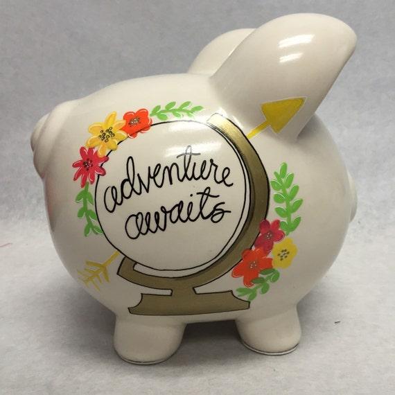 personalized piggy bank adventure awaits travel fund ForTravel Fund Piggy Bank