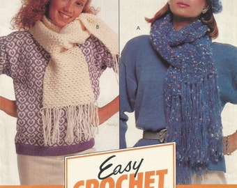 McCalls Easy Crochet  Mother and Daughter Crochet Hat and Scarf Pattern Package H331