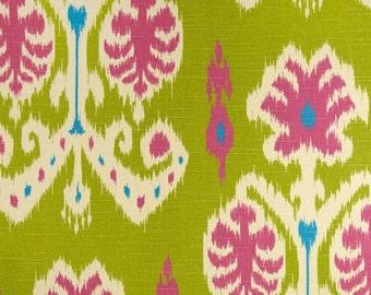 "Two  96"" x 50""  Custom Curtain Panels - Large Caftan  Ikat - SPECIAL - Kiwi"