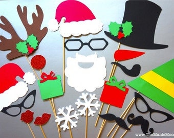 Holiday Photo Booth Props - 20 piece set - GLITTER Photobooth Props - Ultimate Holiday Collection - Santa and Friends