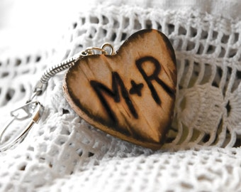 Wood  key chain engraved with initials