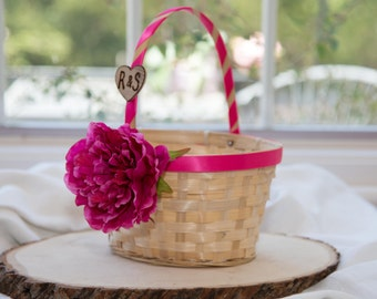 Flower Girl Basket with Bride and Groom Initials over 60 flowers to select from!