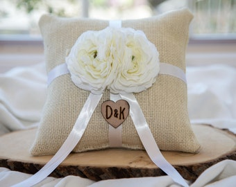 White Flower Ring bearer pillow & White Ribbon You personalize with choice of flower