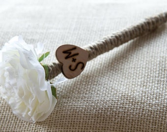 Shabby Chic White Flower Guest Pen with wood heart with bride and groom initials other colors available