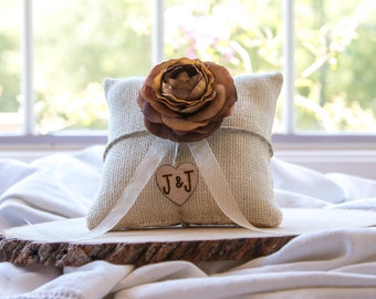 Brown Ranunculus custom ivory burlap ring bearer pillow  shabby chic with engraved heart  initials... many more colors available