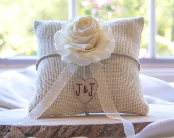 Ivory Ranunculus custom ivory burlap ring bearer pillow  shabby chic with engraved heart  initials... many more colors available