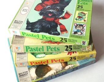 Set of 4 Vintage Pastel Pets Puzzles, Milton Bradley, All Pieces