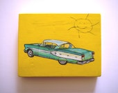 RESERVED FOR J.KING    Original painting contemporary kitsch art 1950's car