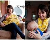Nursing Scarf / Nursing Cover / Breastfeeding Cover / Infinity Scarf - Yellow Quarterfoil - Raw Edge