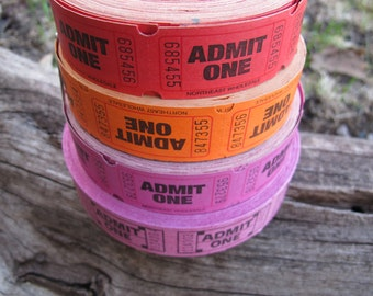 Single Tickets Red Orange or Pink / Choice of quantity / Admit One Tickets / Pink tickets / Orange tickets / Red