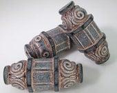 6 Vintage 35x13mm Carved Matte Black and Copper Greek Scroll Tube Beads Bd1532