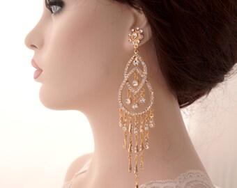 Rose gold chandelier long earrings-Rose gold bridal earrings-Rose gold art deco rhinestone Swaroski crystal  earrings - Wedding jewelry