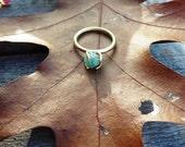Rough Emerald Gemstone Ring, Bronze Claw Setting