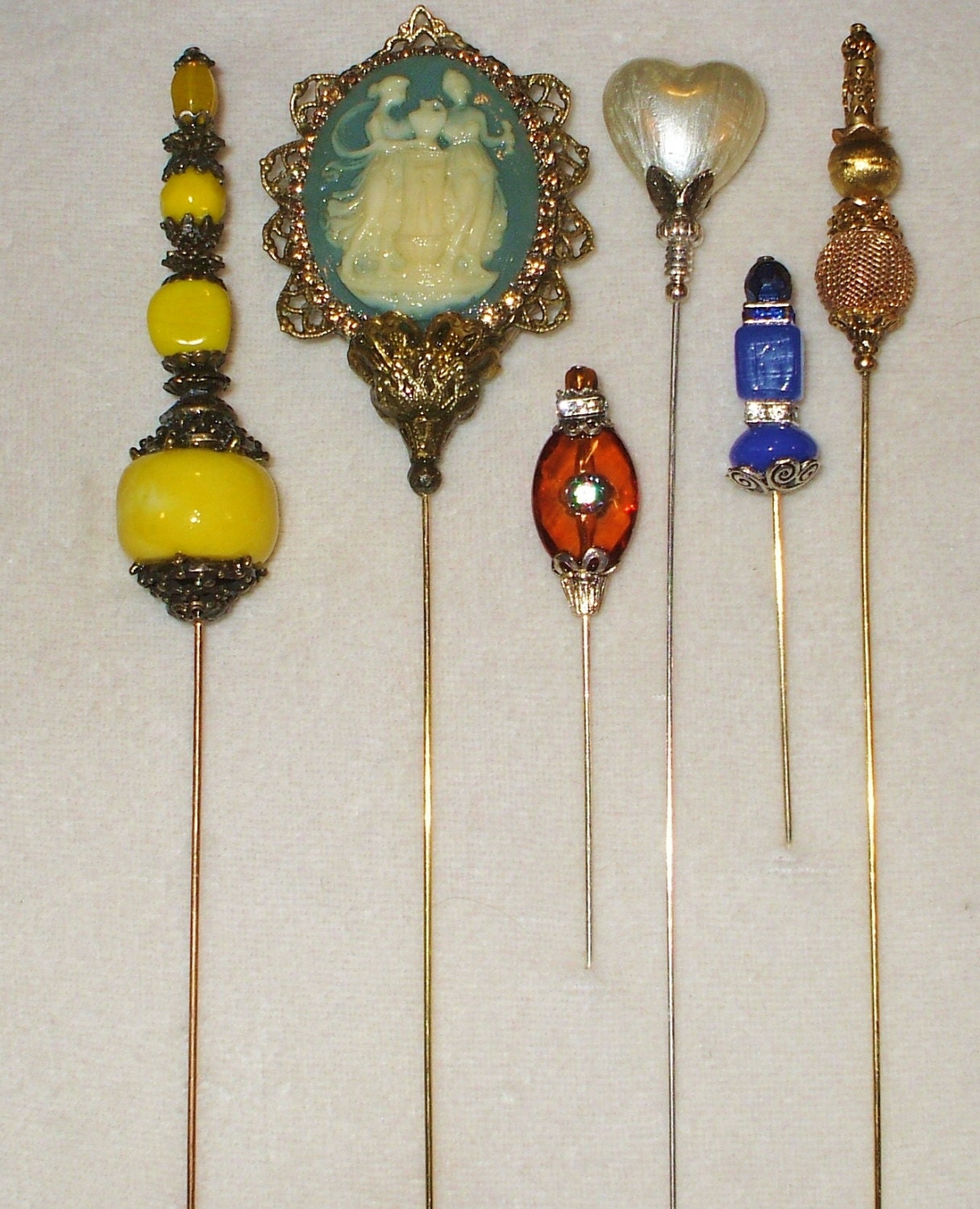 6 Antique Style Victorian Hat Pins With Vintage And Antique