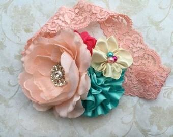 Peach, hot pink, aqua headband, baby headband, girls headband, newborn headband, lace headband, birthday headband, pageant headband