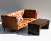 "1:6 Scale Sofa Brown Leather for 12"" Action Figures Barbie Blythe Momoko BJD Fully Handmade Wood Frame"