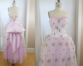 1950s Pink Princess Ball Gown Tulle Formal Prom Cupcake Bustle Size Small to Medium