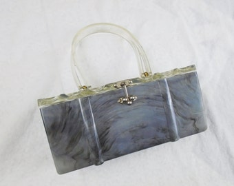1950s Lucite Box Purse Charles Kahn Pearly Marbled Gray