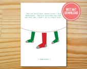 Dumbledore Socks Printable Christmas Card - 5x7 - INSTANT DOWNLOAD