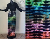 Psychedelic POP Art Op Art Large MOD Maxi Dress Vintage 60s 70s Space Age Futuristic Maxi Dress Mid Century Modern Mad Men Cocktail Party