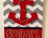 Chrissy Justus---Custom Reserved Listing---Anchor with Chevron -Birth Announcement Door Hanger