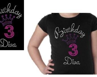 Girls Birthday Diva Custom Rhinestone Shirt