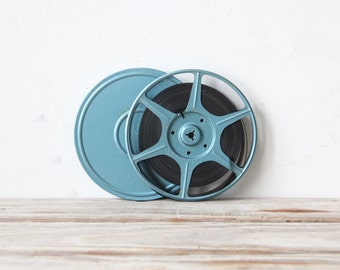 Industrial Blue Movie Film Reel & Case