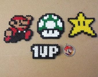 Super Mario Gift Set #2 - Perler Sprites, Bottlecap charm, Pins