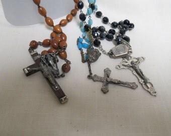 Destash Vintage Lot of Rosaries Glass Beads Plastic Beads Blue Black Roma Rome