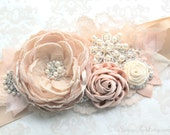 "Champagne Beige Blush Beaded Sash ""Samantha"" Bridal Wedding Ribbon Sash/ Handmade Accessory"