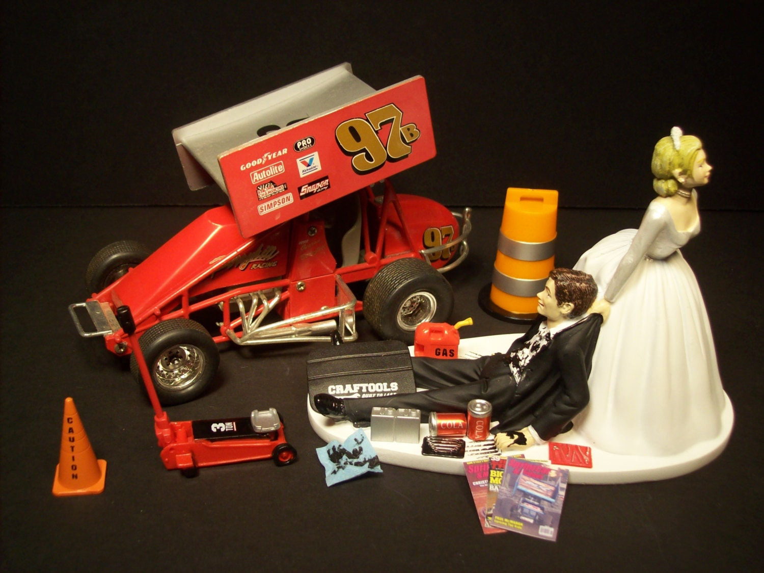 mini car wedding cake topper winged sprint car auto mechanic amp groom wedding by 17391