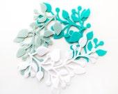 Die Cut Felt - Felt Branch - Aqua Tiffany Mint White Felt - Floral Felt