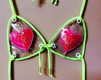 Neon Clear PVC Vinyl Heart Festival Cut Out Sequin Bikini Top