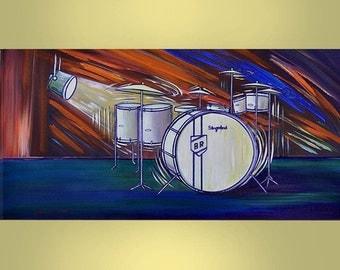 BUDDY RICH'S Drum Set Large 24x48 Original Pop Art Painting Wall Hangings Home Decor By Thomas John