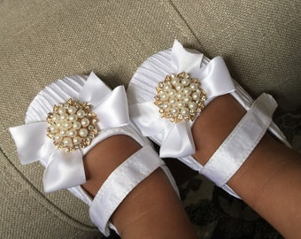 White Satin Baby  Crib Shoes  ,Baby Shoes,Christening, Baptism, Wedding,