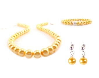 Yellow Bridesmaid Jewelry, Bridesmaid Gift, Yellow, Vintage Wedding, Yellow Wedding, Glass Pearls, Pearl Gift Set, Bridesmaid Jewelry