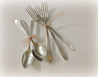 Silver Plate Forks and Spoons Community Plate Bird Of Paradise