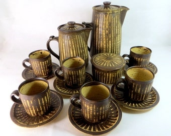 Vintage Stoneware Pottery, Mid-Century Retro English 15 pce Studio Pottery Handthrown Coffee Set Signed MC Monogram 1970s