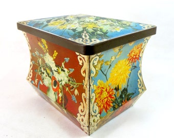 Vintage Retro Tin, Sharp's Toffees Floral Spring Flowers Chest/Trunk Lidded Confectionery Casket 1950s